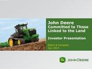 July investor presentation - John Deere
