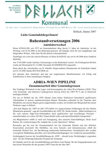 Ruhestandversetzungen 2006 - Gemeinde Dellach
