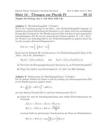 Blatt 13 – ¨Ubungen zur Physik IV SS 13 - Delta - TU Dortmund