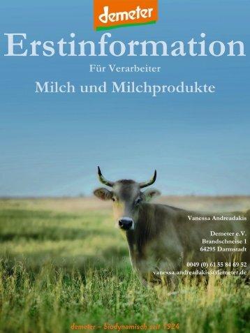 Erstinformation: Milch und Milchprodukte - Demeter