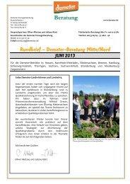 Beraterrundbrief Landwirtschaft Juni 2013 - Demeter