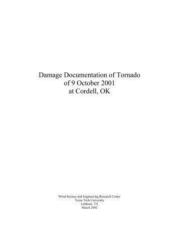 Damage Documentation of Tornado of 9 October 2001 at Cordell, OK