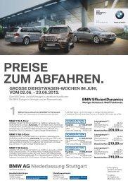 PREISE ZUM ABFAHREN. - BMW Niederlassung Stuttgart