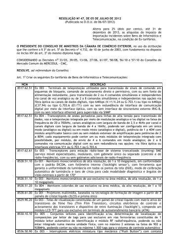 Resolução nº 47 de 05/07/2012 - Ministério do Desenvolvimento ...