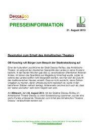 PRESSEINFORMATION 21. August 2013 ... - Dessau-Roßlau