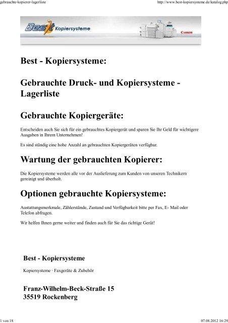 Lagerliste als PDF Best Kopiersysteme