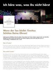 Ich höre was, was Du nicht hörst - Deutsche Tinnitus-Stiftung