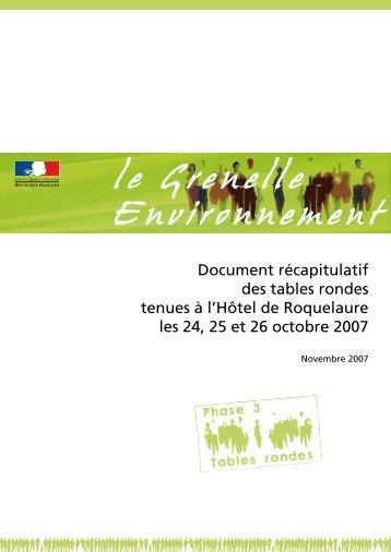 Document récapitulatif des tables rondes tenues à l'Hôtel de ...