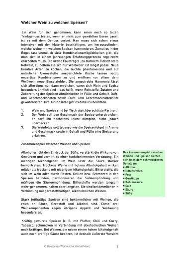 Welcher Wein zu welchen Speisen? (pdf - Deutsches Weininstitut