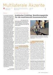 Multilaterale Akzente - Deza - admin.ch