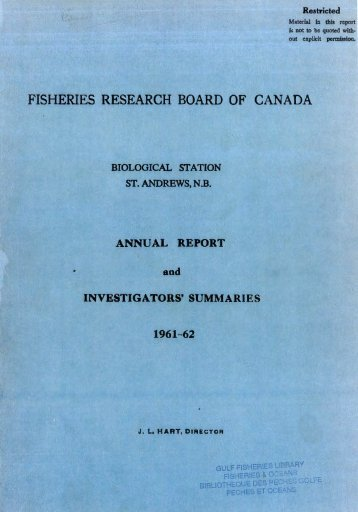 FISHERIES RESEARCH BOARD OF CANADA