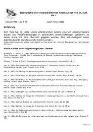 Bibliographie der wissenschaftlichen Publikationen von Dr. Kurt Harz