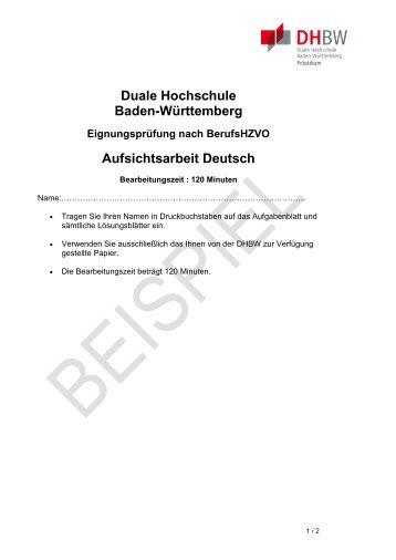 Musterklausur beruflich Qualifizierte - DHBW