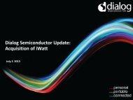 iWatt acquisition investor presentation - Dialog Semiconductor