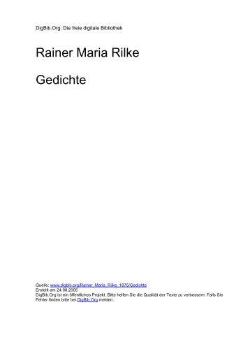 Rainer Maria Rilke Gedichte - DigBib.Org