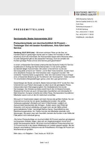 Testsieger Sixt (pdf, 41 kb) - Deutsches Institut für Service-Qualität