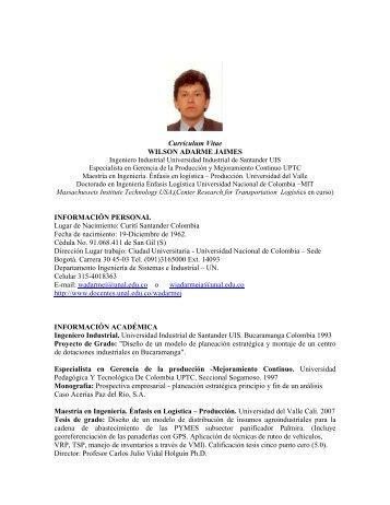 Currículum Vitae WILSON ADARME JAIMES INFORMACIÓN ...