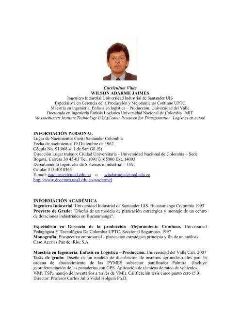 Curriculum Vitae Wilson Adarme Jaimes Informacion