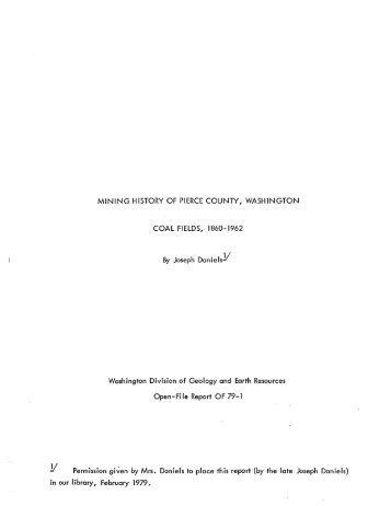 Mining History of Pierce County, Washington, Coal Fields, 1860–1962