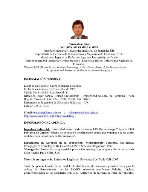 Curriculum Vitae Wilson Adarme Jaimes Ingeniero Industrial