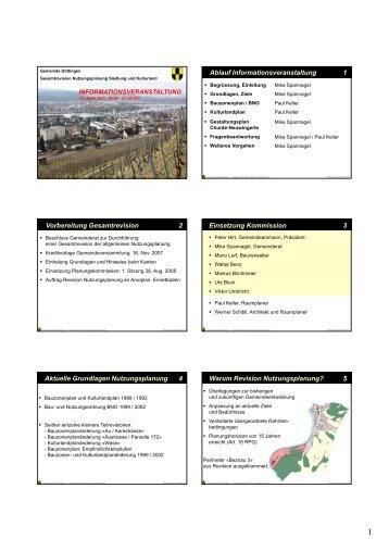 Ablauf Informationsveranstaltung 1 Vorbereitung Gesamtrevision 2 ...