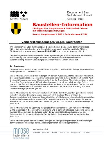 Baustellen-Information - Gemeinde Döttingen
