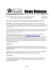 News Release - Washington State Department of Health