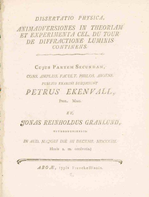 PETRUS EKENVALL, - Doria