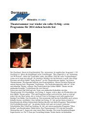 Theatersommer: Furioser Auftakt trotz der Hitze ... - Stadt Dormagen