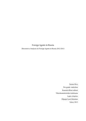 Foreign Agents in Russia - Doria