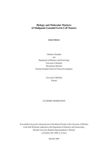 Biology and Molecular Markers of Malignant Gonadal Germ ... - Doria