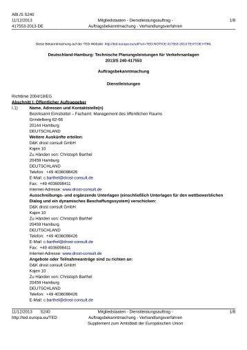 Deutschland-Hamburg: Technische ... - D&K drost consult