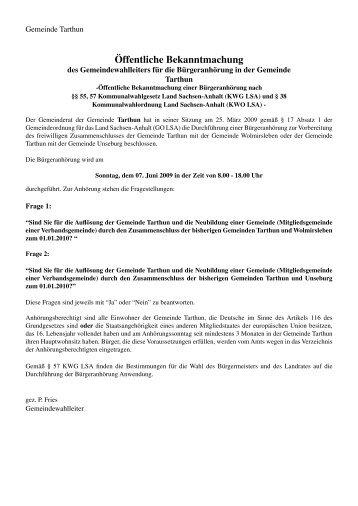 Öffentliche Bekanntmachung Tarthun 06/2009 - Druckerei Lohmann