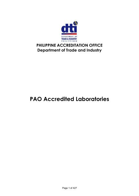 PAO Accredited Laboratories As Of November 2013 DTI