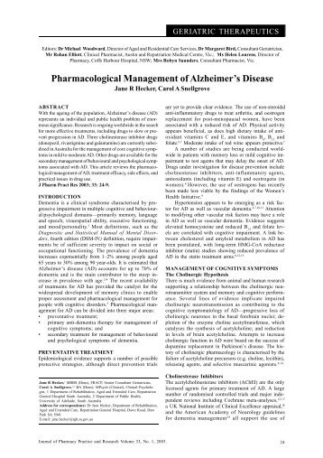 Pharmacological Management of Alzheimer's Disease - jppr