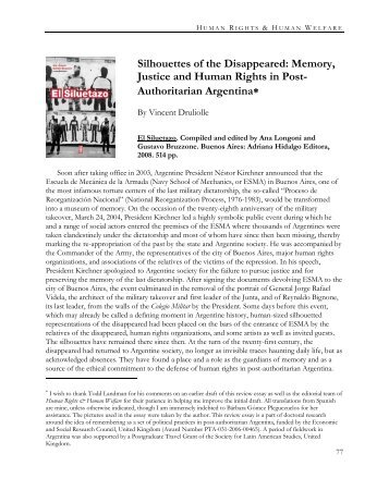 Silhouettes of the Disappeared: Memory, Justice and Human Rights ...