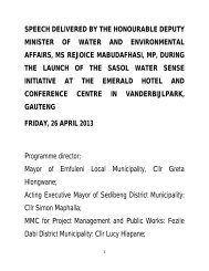 DM`s Sasol Water Sense Speech - Department of Water Affairs and ...