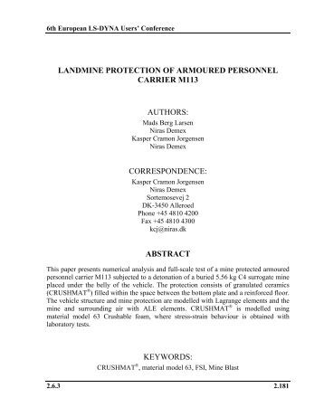 landmine protection of armoured personnel carrier m113