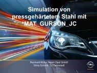 Simulation von pressgehärtetem Stahl mit MAT_GURSON_JC - DYNAmore