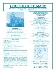 CHURCH OF ST. MARY - E-churchbulletins.com