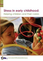 Stress in early childhood: Helping children and their carers