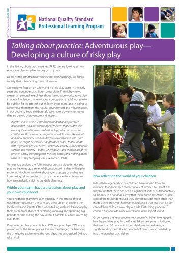 Talking about practice: Adventurous play - Early Childhood Australia
