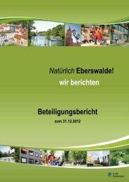 Beteiligungsbericht zum 31.12.2012 Entwurf - Stadt Eberswalde