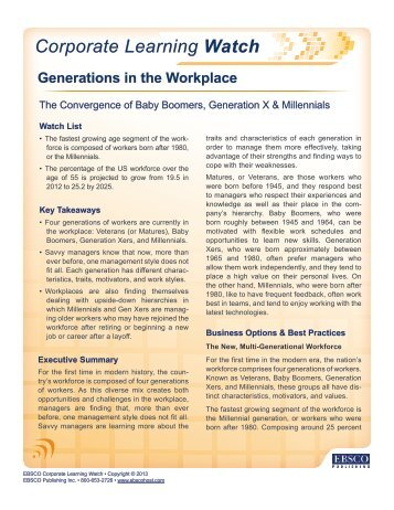 Generations in the Workplace - EBSCO Publishing