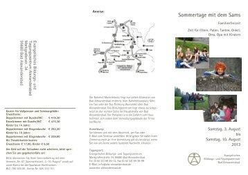 Sommertage mit dem Sams - und Tagungszentrum Alexandersbad
