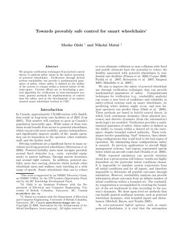 Towards provably safe control for smart wheelchairs - Electrical and ...