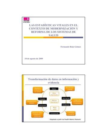 Las estadísticas vitales en el contexto de la modernización y ...