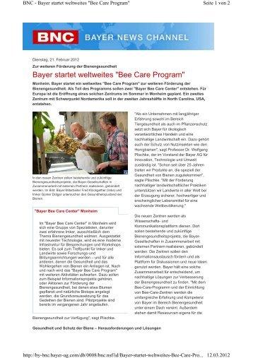 """Bayer startet weltweites """"Bee Care Program"""" - Econsense"""