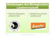 Richtungen der Biologischen Landwirtschaft