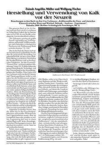 Herstellung und Verwendung von Kalk vor der Neuzeit
